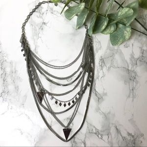 Express Silver Layered Edgy Necklace
